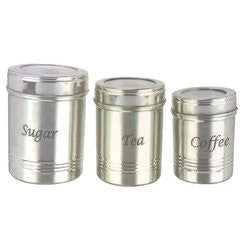 Stainless Steel Dabba Set of 3 for Storing Tea, Coffee and Sugar