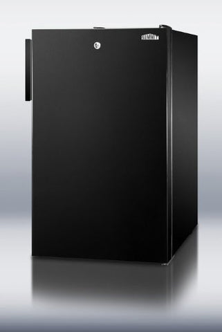 "Summit FS408BL7ADA: Commercially listed ADA Compliant 20"" wide counter height all-freezer, -20(degree) C capable with a lock and black exterior"