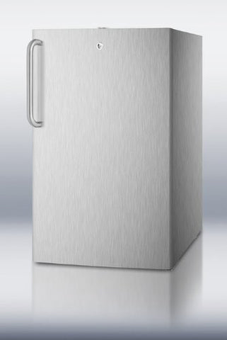 "Summit FS408BL7CSSADA: Commercially listed ADA Compliant 20"" wide built-in undercounter all-freezer, -20(degree) C capable with full stainless steel exterior and lock"