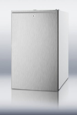 "Summit FS407LBI7SSHH: Commercially listed 20"" wide built-in undercounter all-freezer, -20(degree) C capable with a lock, stainless steel door, horizontal handle and white cabinet"
