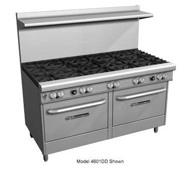 "Southbend 4605AA-2CR 60"" Ultimate Restaurant Gas Range w/ 3 Standard Burners Front, 2 Pyromax Burners Rear, 24"" Right Charbroiler & (2) Convection Ovens"