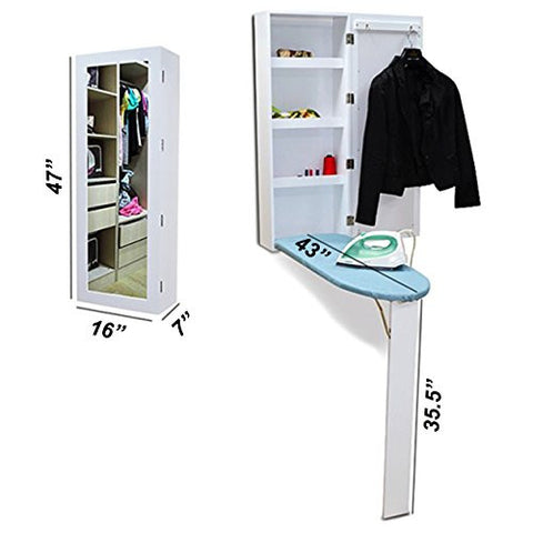 New Larger 3 Shelf Hidden Ironing Board Center Inside Mirror Cabinet By Precision Works In White