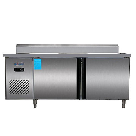 300L Direct Cooling Side by Side 2-Door Stainless Steel Restaurant Kitchen Under-Counter Worktop Commercial Cabinet Refrigerator Cooler & Freezer 10.6 cubic feet Platinum