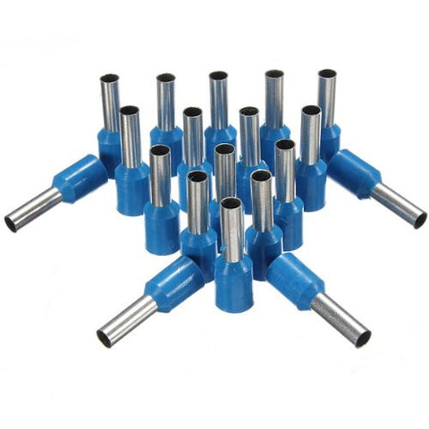 100Pcs AWG 14 Blue Wire Copper Crimp Insulated Cord Pin End Terminal