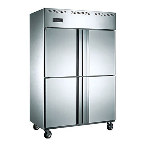 1000 Liter 4-Door Restaurant Kitchen Commercial Stainless Steel Refrigerator Upright Freezer Fridge Reach-in Cabinet Double-Temperature Cold Storage & Freezing 35 cubic feet