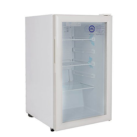 160 Liter Glass Display Showcase 1-Door Beer Soda Beverages Upright Cooler Refrigerator Cabinet Compact Mini Fridge Apartment Size