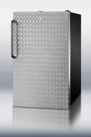 "Summit FS408BLBI7DPLADA: Commercially listed ADA Compliant 20"" wide built-in undercounter all-freezer, -20(degree) C capable with a lock, diamond plate wrapped door and black cabinet"