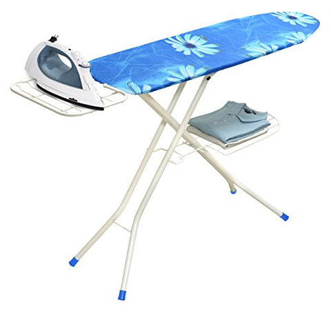 Ybm Home & Kitchen Deluxe Adjustable Height 4-leg Heavy Duty Ironing Board & Blue Print Cotton Cover with Steel Mesh Top 1548-16 2315