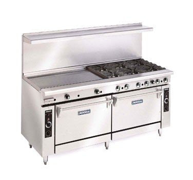 "Imperial Commercial Restaurant Range 72"" With 4 Burner 48"" Griddle 2 Oven Propane Ir-4-G48"
