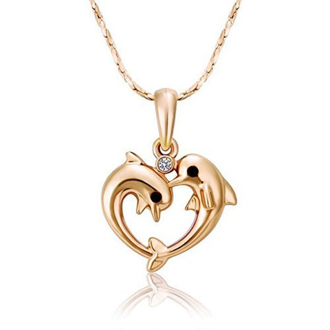 Fashion Chain Jewelry Double Dolphin Heart Pendant Necklace Gift Party