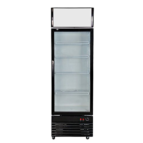 308L Glass Display Showcase Pull Door Commercial Refrigerator Beer Soda Drinks Beverage Merchandiser Upright Cooler Cold Storage 10.9 cf. Direct Cooling