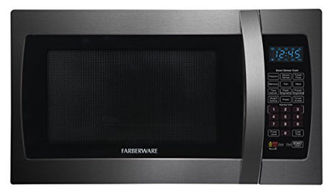 Farberware Black FMO13AHTBSE 1.3 Cubic Foot 1100-Watt Microwave Oven with Smart Sensor Cooking, Black Stainless Steel