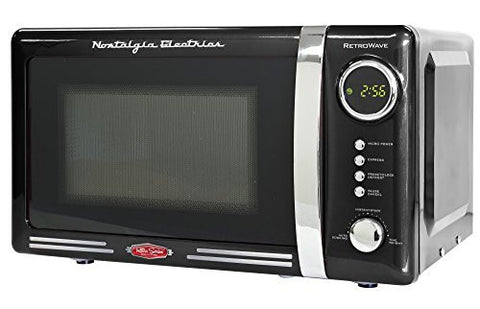 0.7 Cu. Ft. 700 Watts Retro Series Countertop Microwave Oven (Black) by Nostaglia