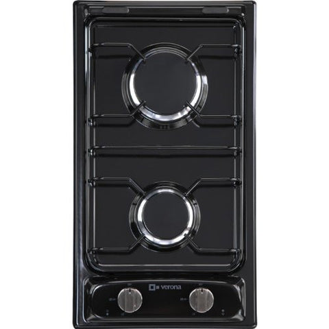 "12"" Gas Cooktop with 2 Burners Finish: Black"