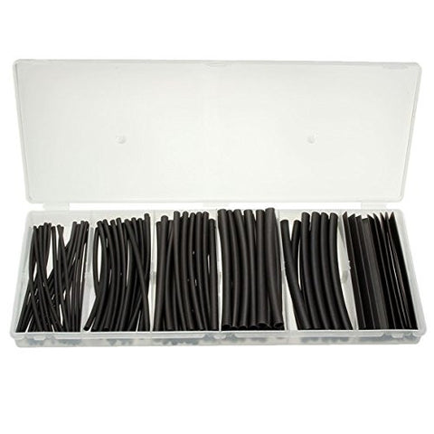 100Pcs 6 Sizes Black Polyolefin 2:1 Halogen-Free Heat Shrink Tubing Tube Sleeving with Case
