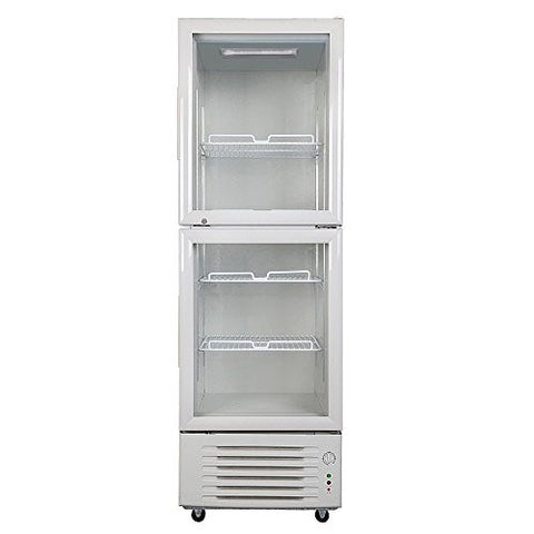 348L Double Door Glass Display Showcase Beer Soda Cola Beverages Cooler Commercial Refrigerator Merchandise Vertical Upright Fridge 12.3 Cubic Feet White