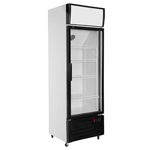 308L Glass Display Pull Door Fan & Direct Cooling Beer Soda Beverages Showcase Commercial Refrigerator Merchandise Vertical Upright Cooler 10.9 cubic feet
