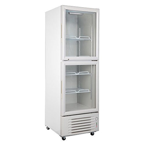 288L Glass Display Showcase Double-Door Beer Soda Beverages Cooler Commercial Refrigerator Merchandiser Upright Fridge 10.2 Cubic Feet White
