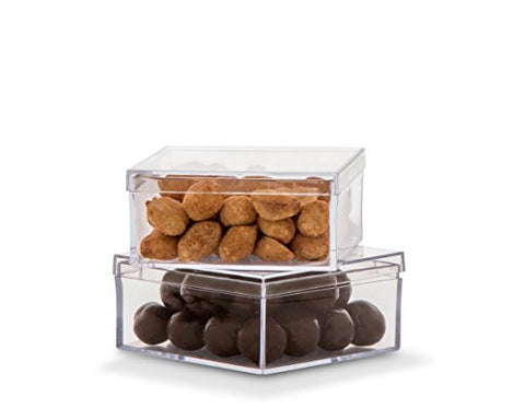 12 Stackable Square Plastic Containers /Box ,Press close lids. Clear Good For Candy's nuts .Used for storing or displaying beads, glitter, seeds, gems, pills, screws. (3.75 X3.75X 1.5'')
