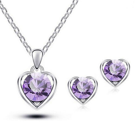 Silver Purple Women's Polished Jewelry Heart Crystal Pendant Necklace Ear Studs Earrings Set