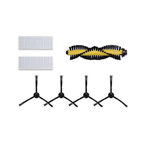 Vacuum Cleaner Replacement Part Kit for ILIFE A4-2 HEPA Filter, 2 pair Side Brushes, and 1 Bristle Brush