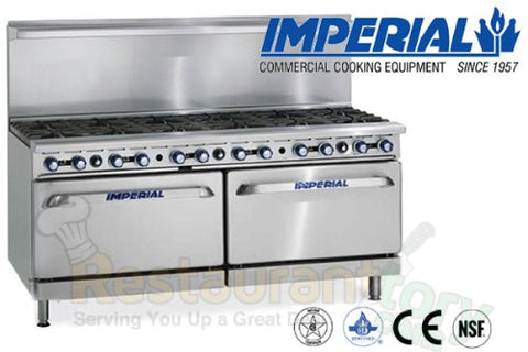 "Imperial Commercial Restaurant Range 72"" With 12 Step Up Burner 2 Convection Oven Nat Gas Ir-12-Su-Cc"