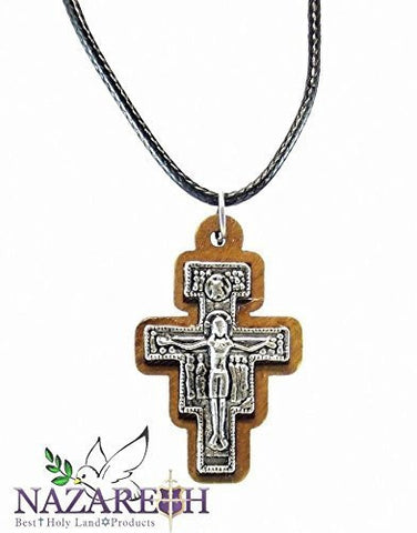 Olive Wood Christian Crucifix Franciscan Cross Pendant Thread Necklace Jerusalem