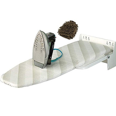 Wall Mounting Ironing Board (Complete Set) w/ Bonus: Premium Microfiber Cleaner Bundle