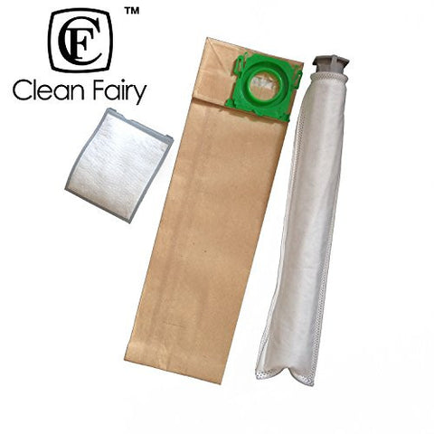 CF Clean Fairy vacuum cleaner bag replacement for Sebo X, G Series, Windsor Sensor Series Upright & Filter Supply Kit. (10 bags and 4 filters)