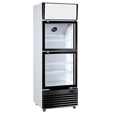 2-Door Air & Direct Cooling Glass Display Pull Doors Milk Beer Soda Drinks Beverages Showcase Commercial Refrigerator Merchandise Upright Cooler Cabinet 10.9 cf. 308L Manual Defrost