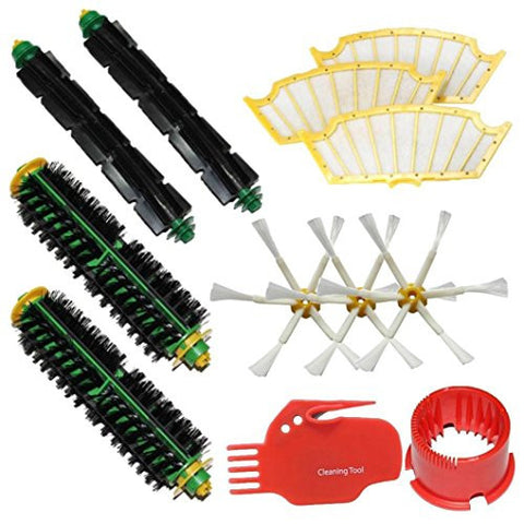 Leewa Accessories for Roomba 500 , 510, 530, 535, 540, 560, 570, 580, 610 Vacuum Cleaner Replacement Part Kit - 3 x Filters , 6-armed Side Brushes , 2 x Bristle Brush & Flexible Beater Brushes and Ect