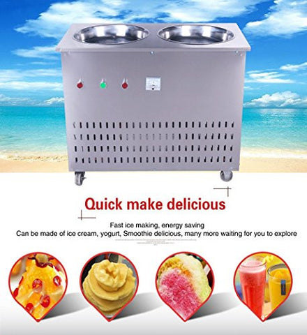 Yoli® fried ice cream machine, double pans fried ice machine,stainless steel ice cream making machine,110V/220V