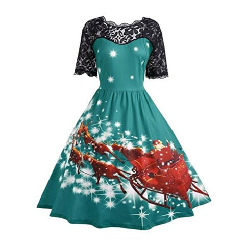 Women Dress New Hot Sale Fashion Christmas Party Dress Ladies Vintage Xmas Swing Lace Dress by Neartime (L, Green)