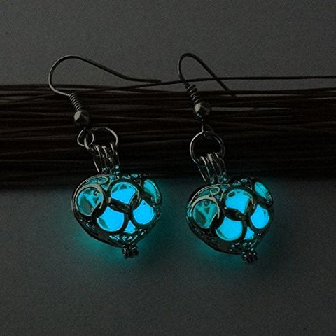 Fashion Women Earrings Glow In Dark Hollow Out Gift Valentine Day Jewelry Heart (green blue)