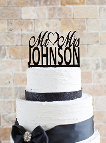 Wedding Cake topper,Mr & Mrs with Custom Last Name Wedding Cake Topper, Elegant Art Words Wedding Party Decal.