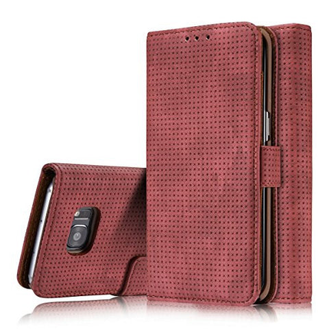Samsung Galaxy S7 Wallet Cover, TYoung Classic Artificial Leather  [Breathable] Folio Magnetic Wallet