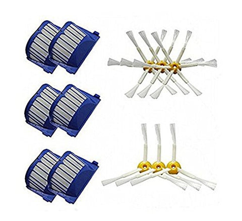 FirstDecor 6 Pack Aero Vac Filters & 3-Armed + 6-Armed Side Brush