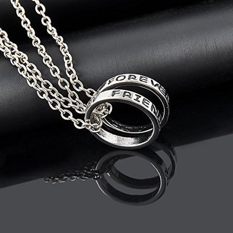 Fashion Engraved BBF Best Friends Forever Ring Chain Pendant Necklace Jewelry