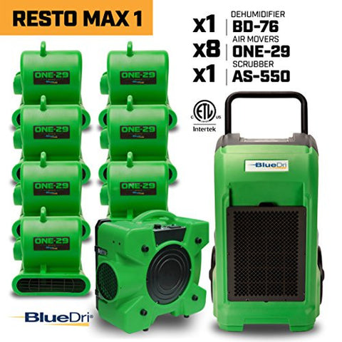 BLUEDRI RESTO MAX 1Â 8x 1/3 HP One-29 Air Movers Carpet Dryer