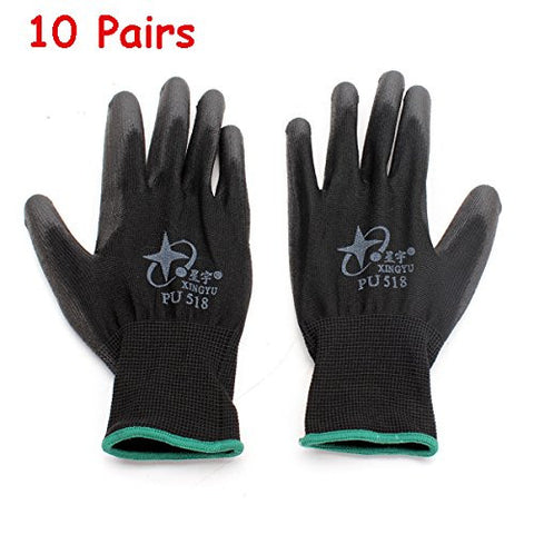 10Pairs XINGYU PU518 13Gauge Nylon Nitrile Anti-static Palm Coated Work Safety Gloves Large Size