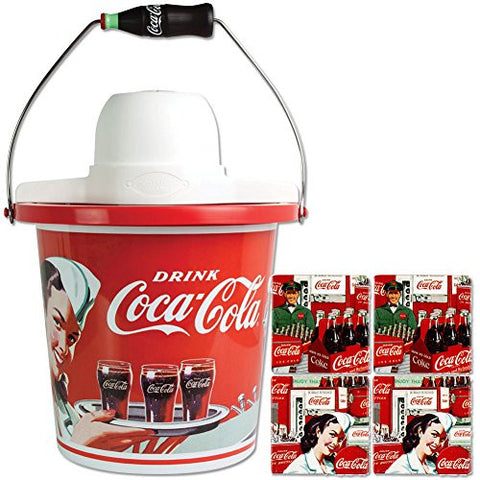 (Set) Limited Edition Coke Ice Cream Maker & 4 Coca-Cola Vending Coasters