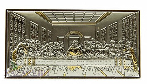 Amazing Last Supper Of Jesus Icon Italian Silver Gold Parts Holyland