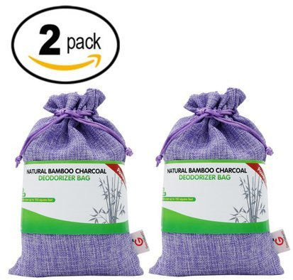 2-Pack Great Value SG Bamboo Charcoal Deodorizer Power Pack, Best Air Purifiers for Smokers & Allergies, Perfect Car Air Fresheners, Remove Smell for Home & Bathroom (Purple 2-pack)