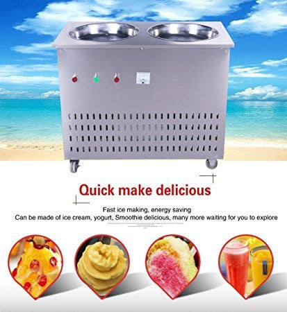 Yoli® double pans fried ice cream machine,stainless steel fried ice machine,thai fried ice cream machine,110V/220v