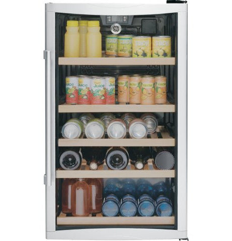"19"" Beverage Center with 31-Bottle Capacity 109-Can Capacity 5 Wooden Racks Interior Lighting Temperature Display and Electronic Controls"