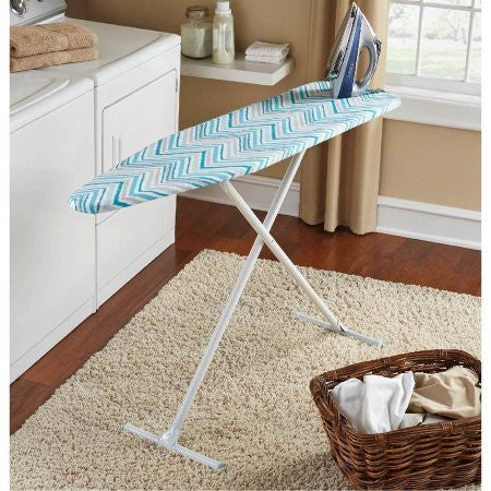 Mainstays T-Leg Ironing Board, Solid steel top 100 percent cotton cover with foam pad Variable height adjustment