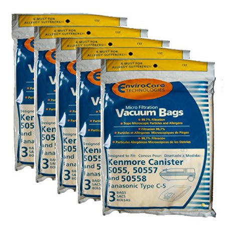 Kenmore Canister Type C. (15 Pack) Fits 5055, 50557 and 50558 Panasonic Type C-5 Models