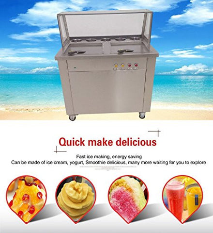 Yoli® double Square pans fried ice cream machine,Thailand ice cream roll making machine,110V/220V
