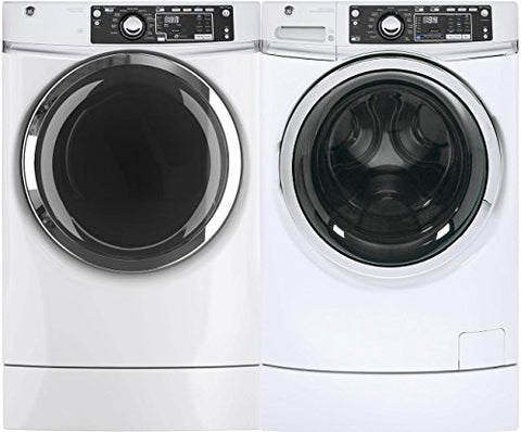 "GE White Front Load Laundry Pair with GFW490RSKWW 28"" Washer and GFD49ERSKWW 28"" Electric Dryer"