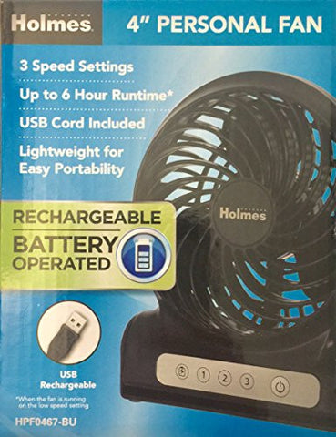 "Holmes 4"" Personal Fan Rechargeable Battery Operated - Black"